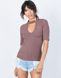 Light Brown Devan Choker Tee - Front View