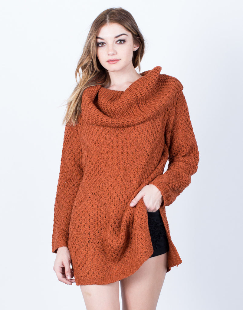 Diamond Knit Sweater Top - 2020AVE
