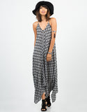 Front View of Diamond Abstract Maxi Dress