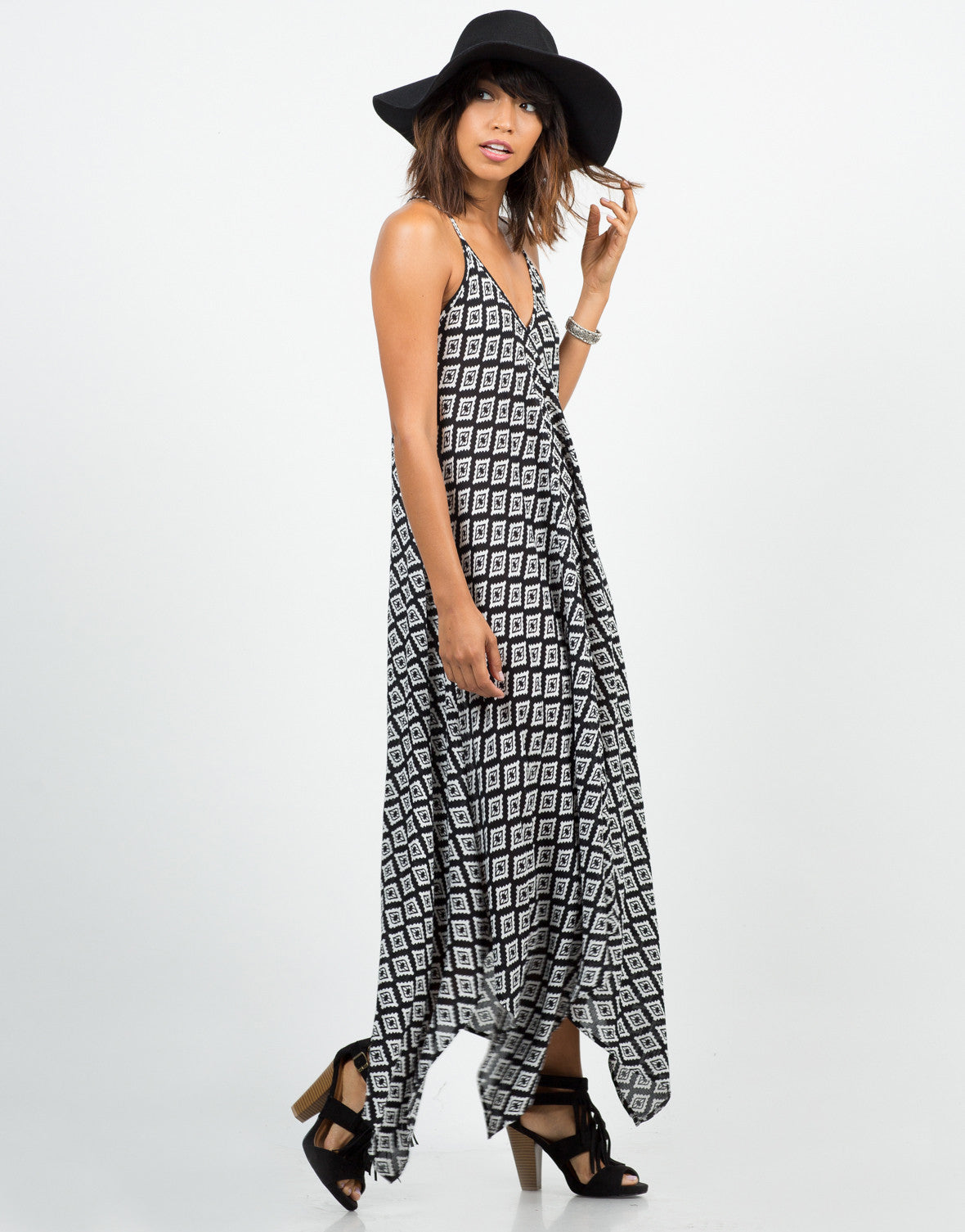 Side View of Diamond Abstract Maxi Dress
