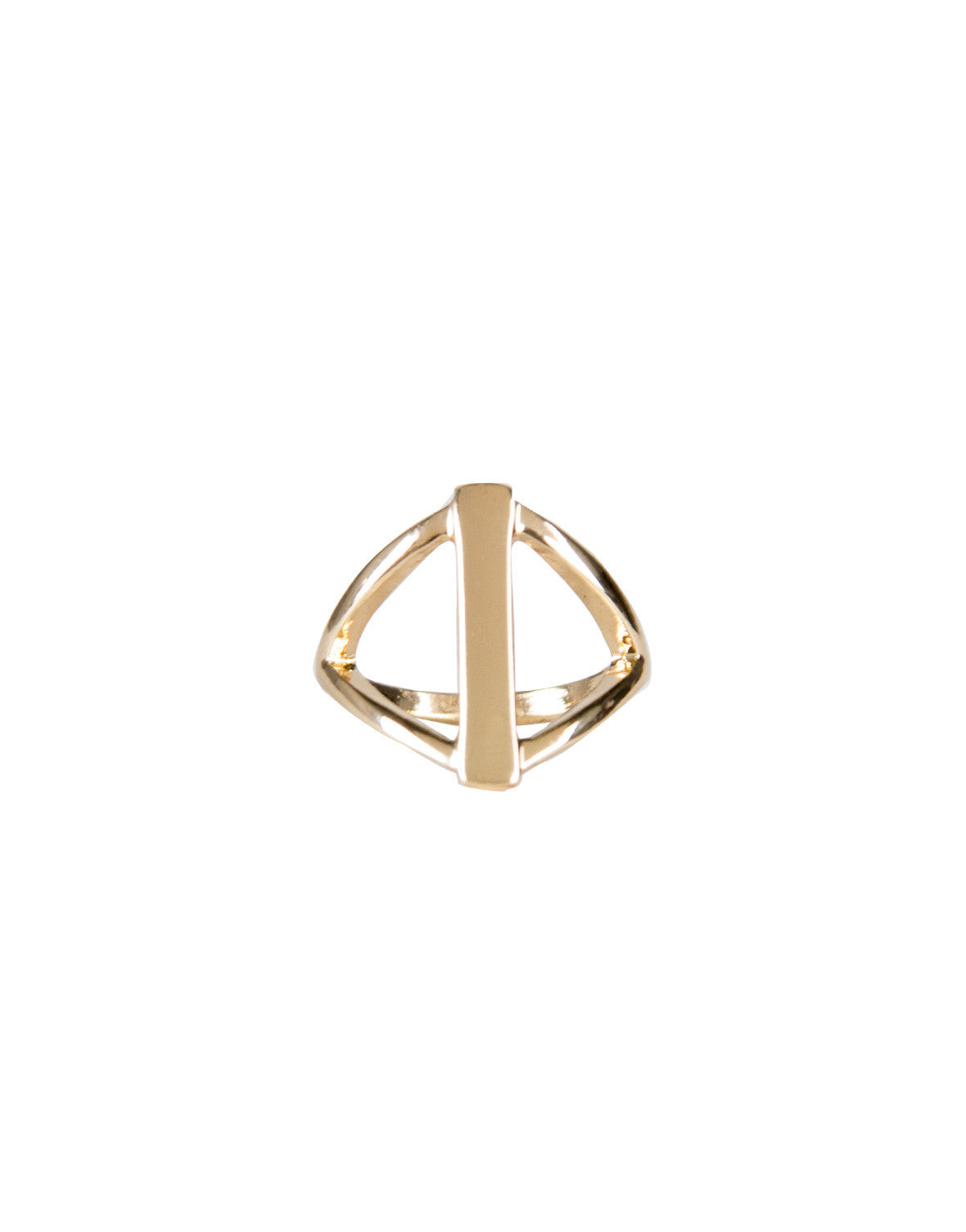 Diamond Bar Knuckle Ring - Ana R10439-Gold