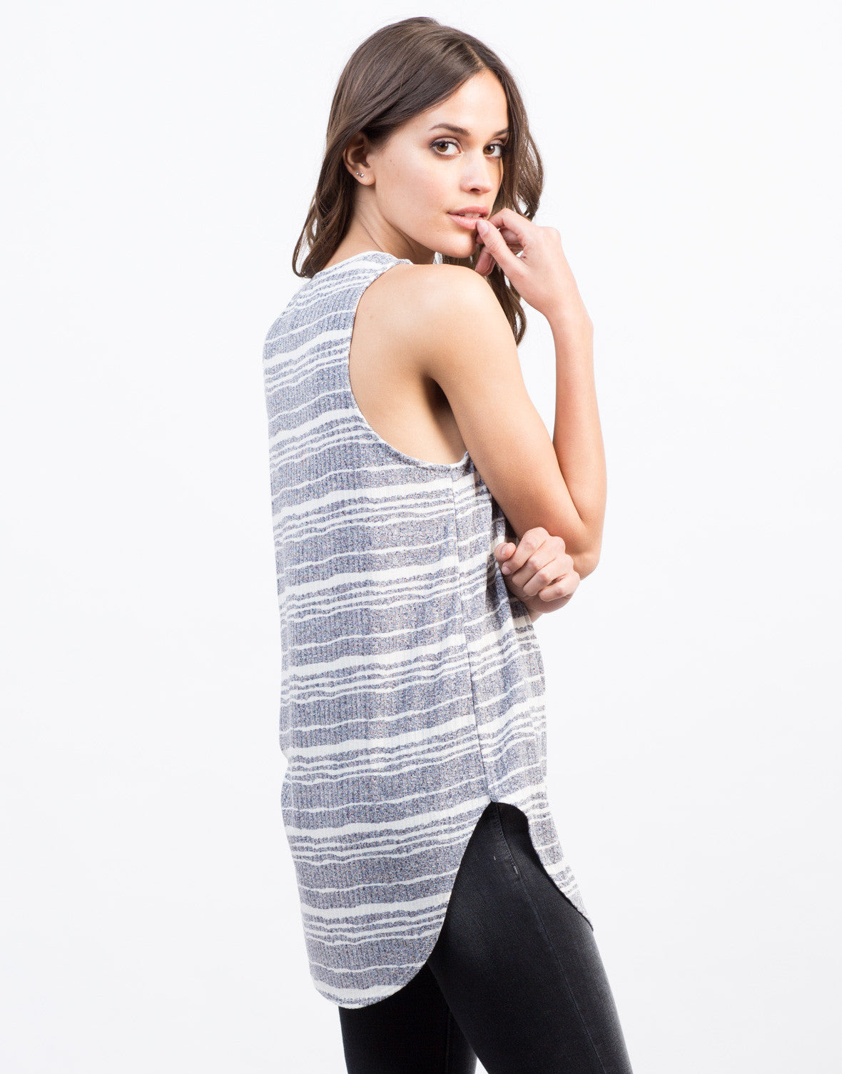 Side View of Different Stripes Tunic Tank