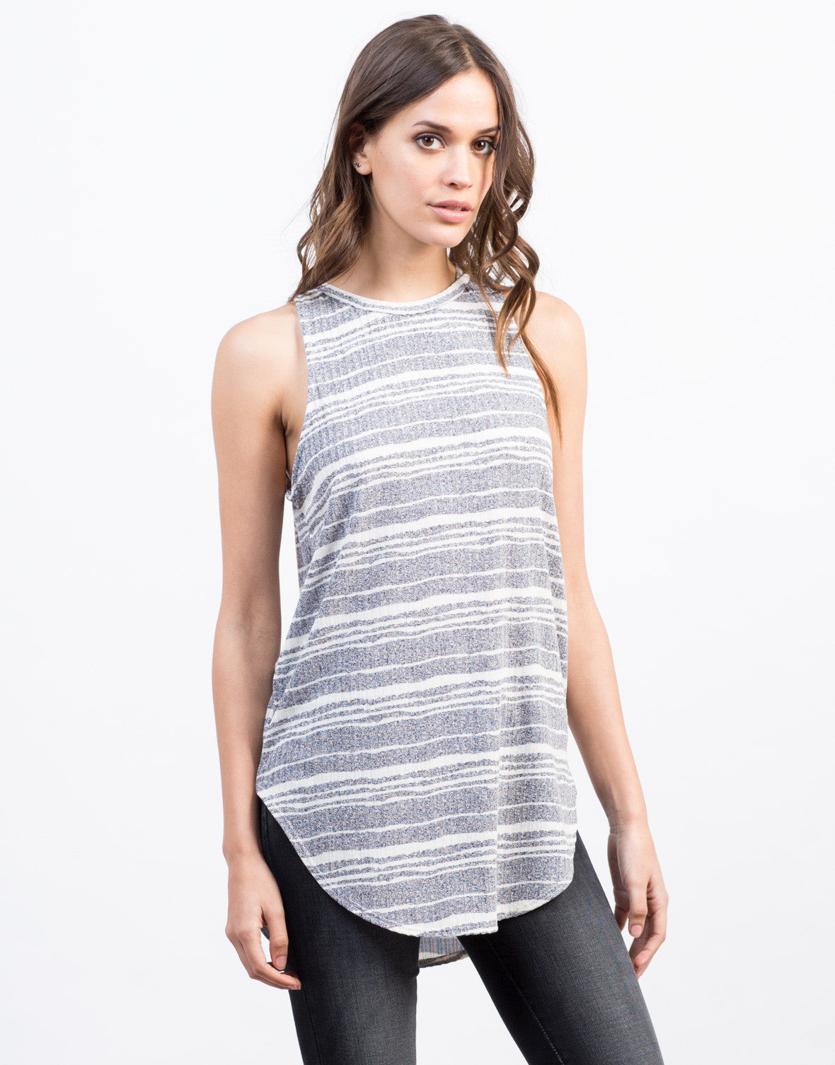Front View of Different Stripes Tunic Tank
