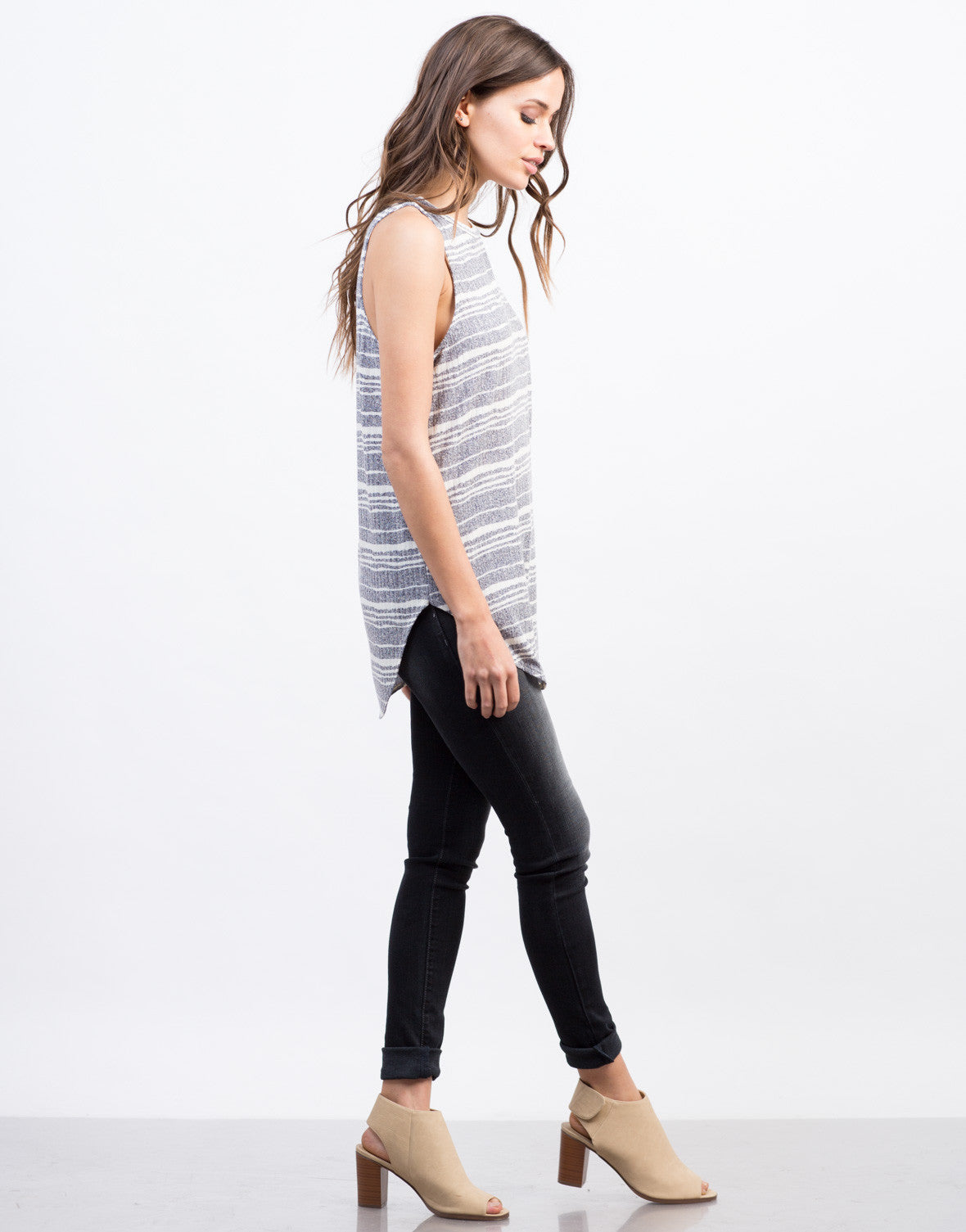 Back View of Different Stripes Tunic Tank
