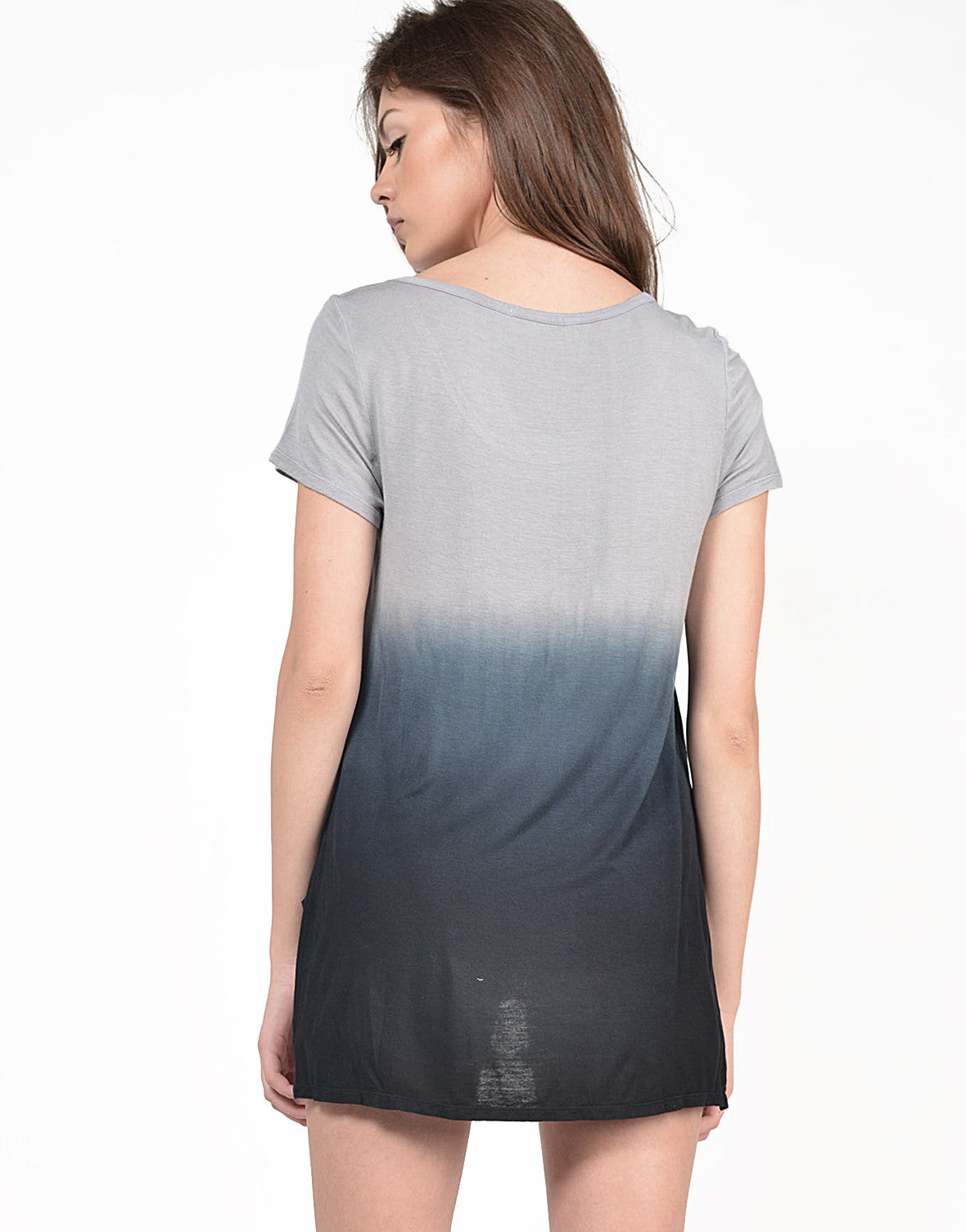 Back View of Dip Dye Hi-Low Tee