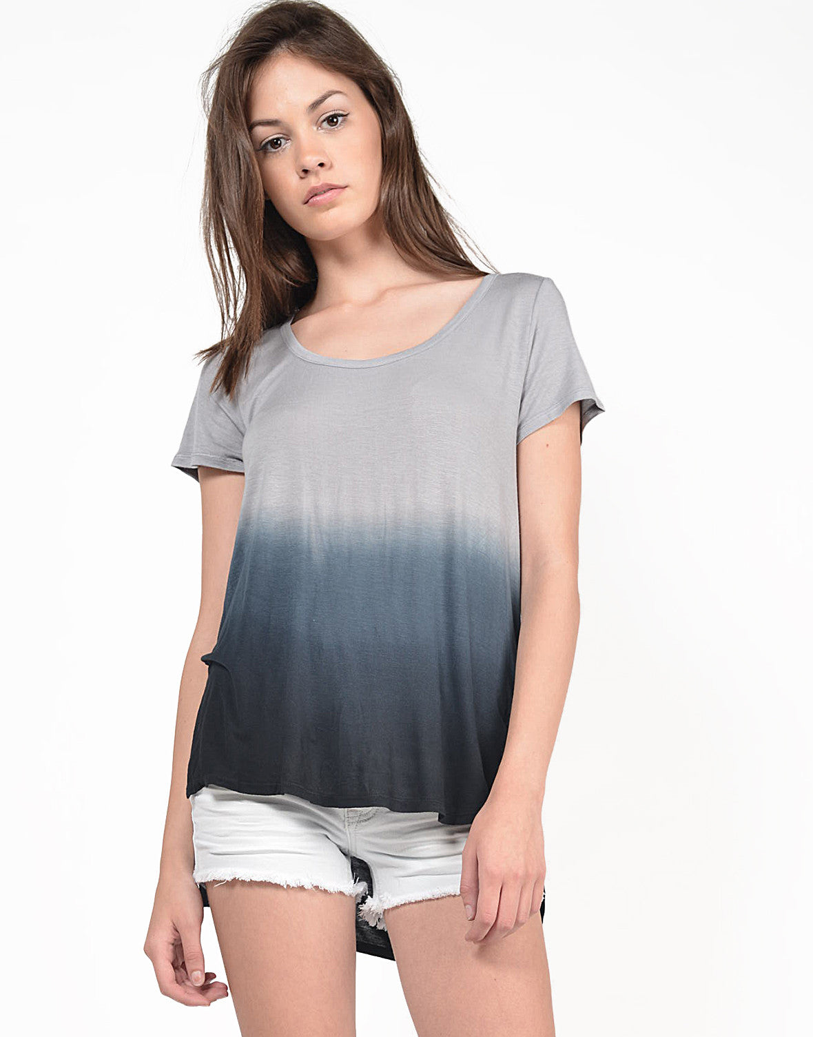 Front View of Dip Dye Hi-Low Tee