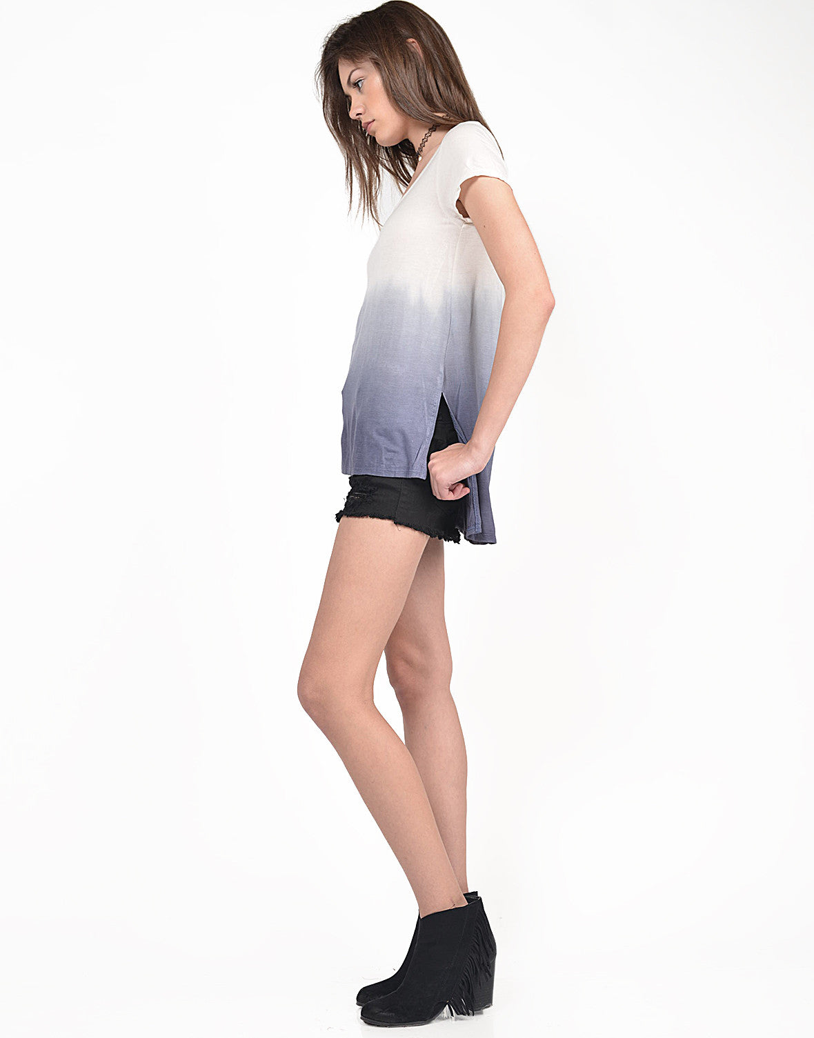 Side View of Dip Dye Hi-Low Tee
