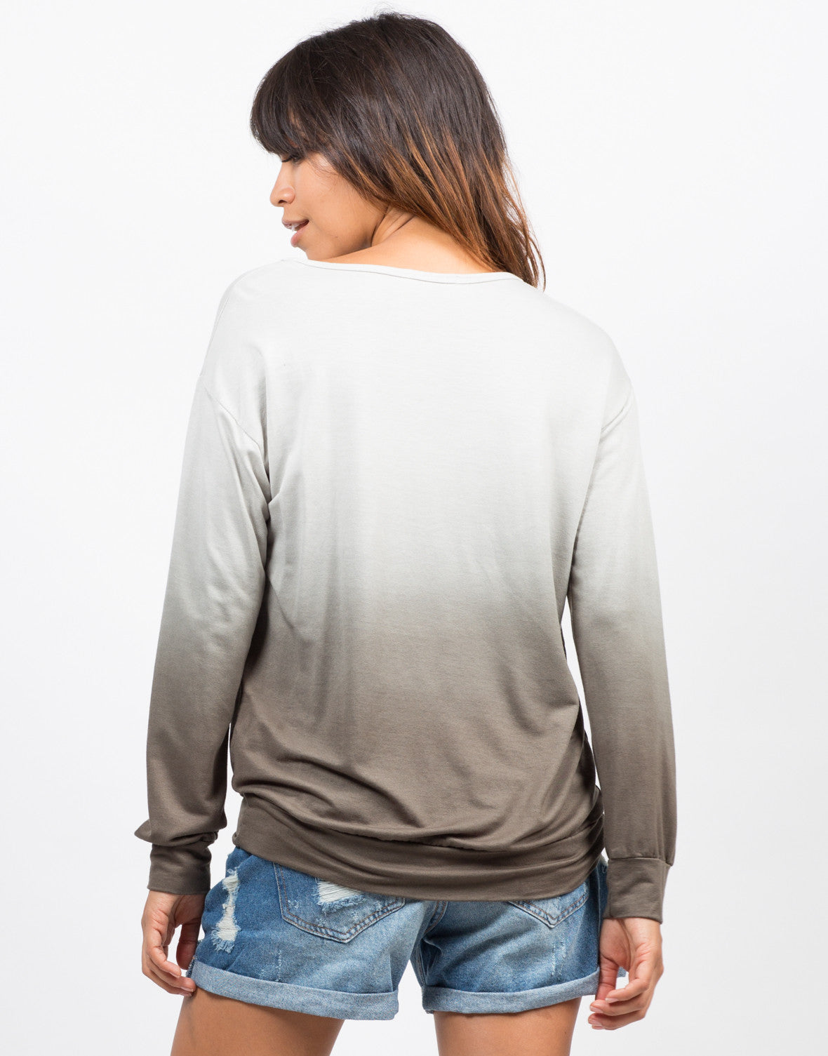 Back View of Dip Dye Tunic Sweater