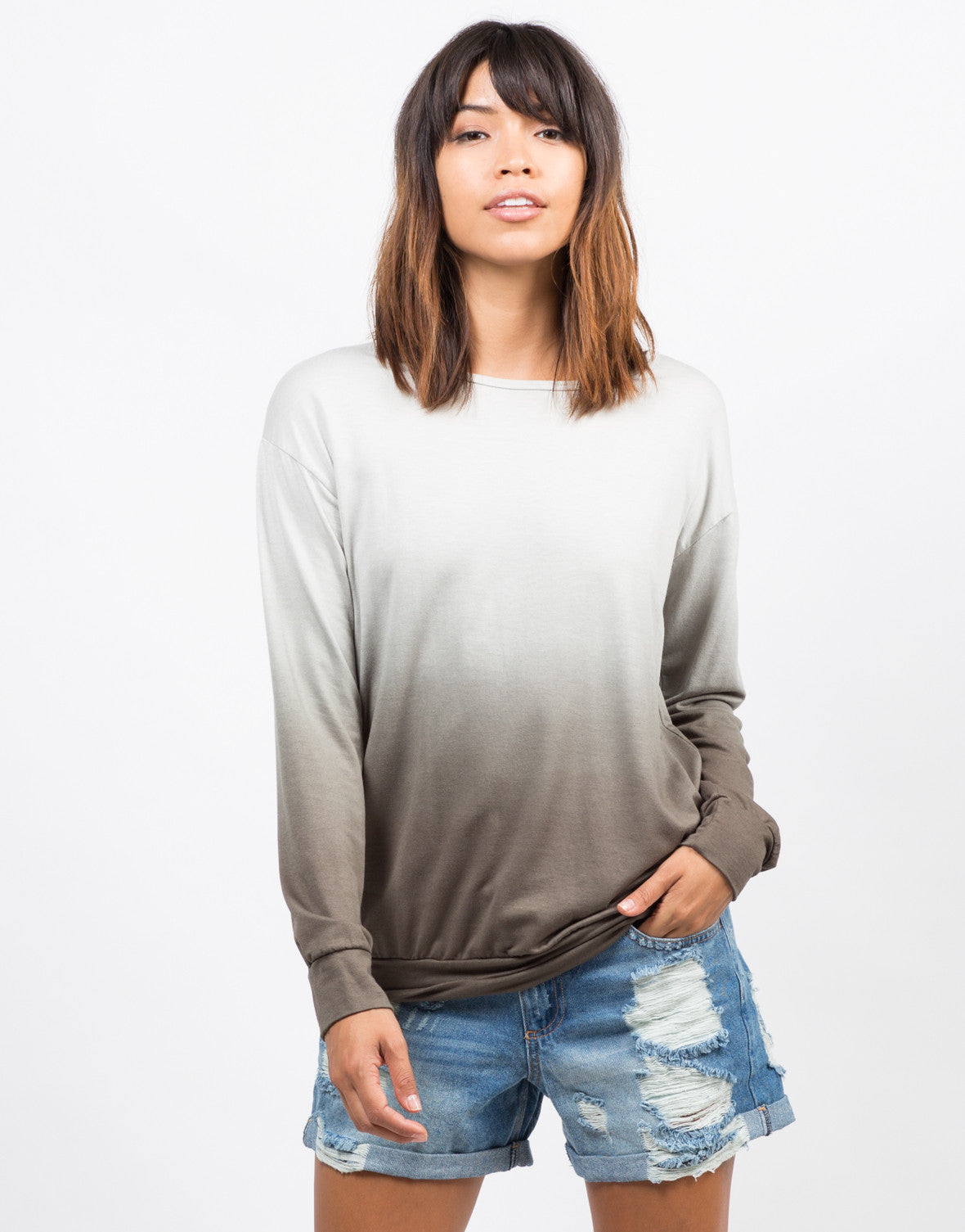 Front View of Dip Dye Tunic Sweater