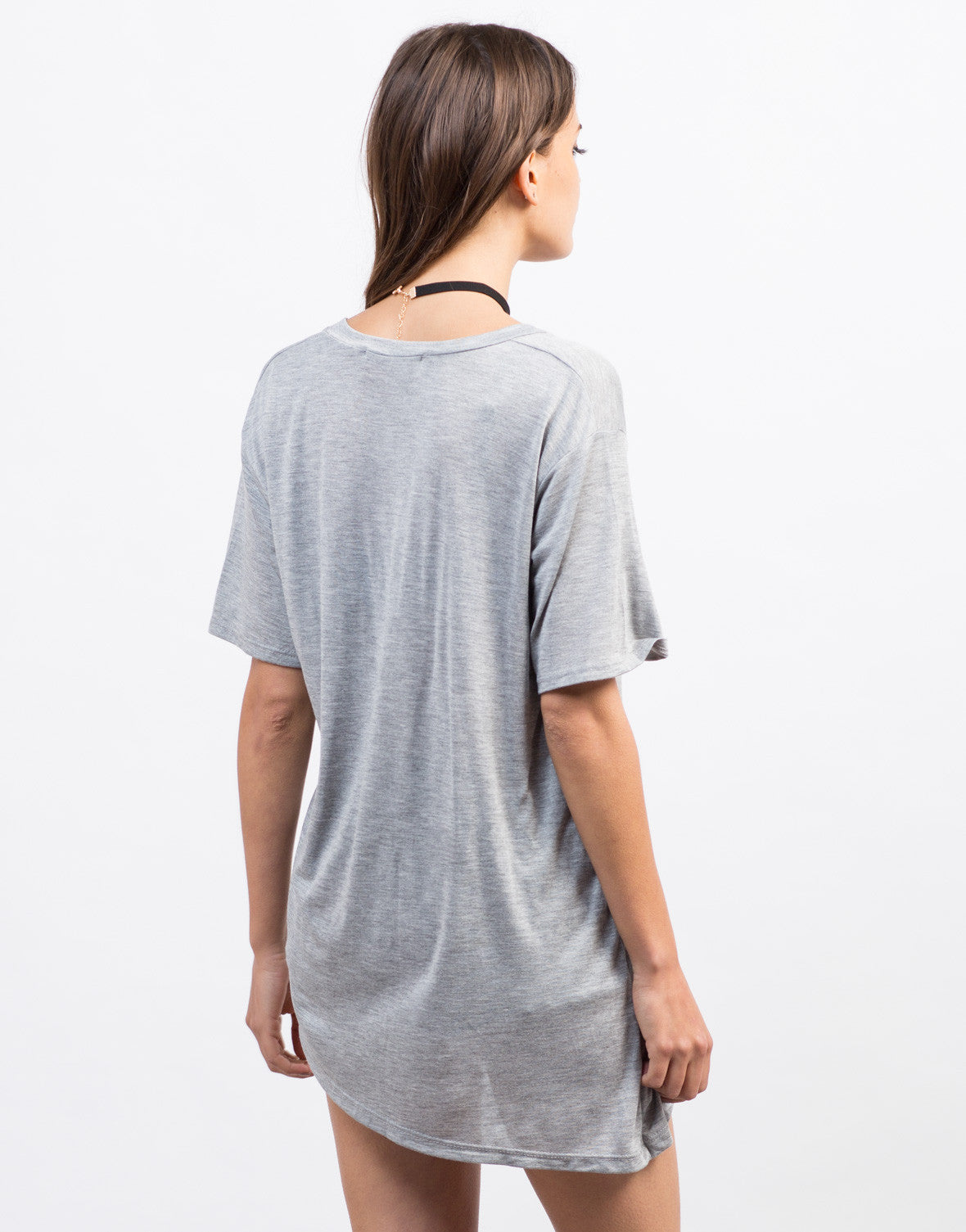 Back View of Distressed Asymmetrical Tee