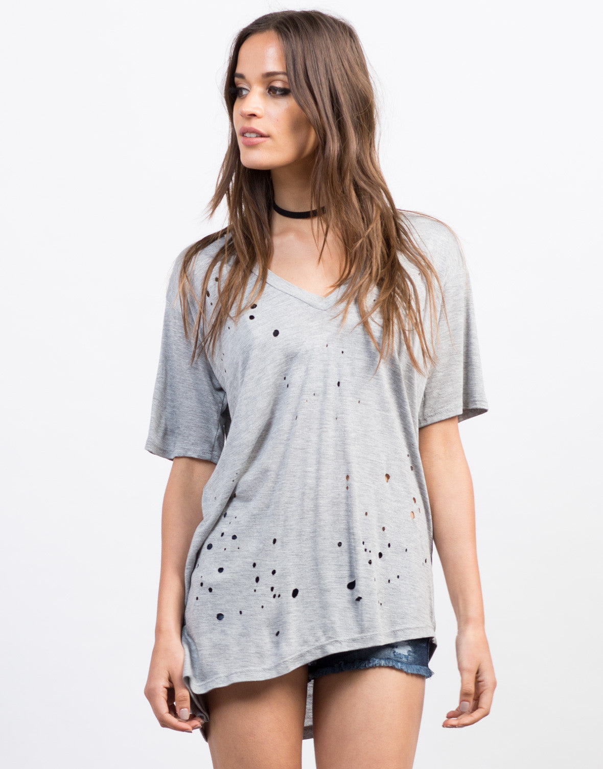 Front View of Distressed Asymmetrical Tee