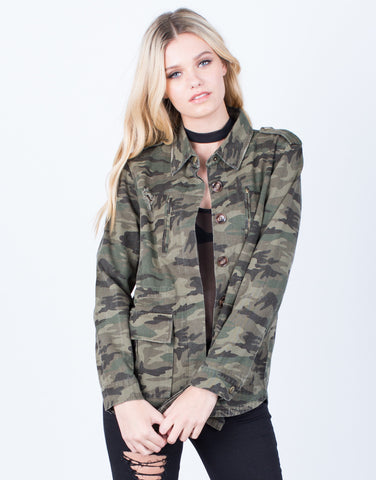 Front View of Distressed Camo Jacket