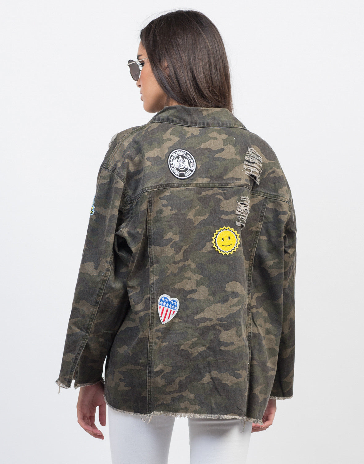 Back View of Distressed Camo Patched Jacket