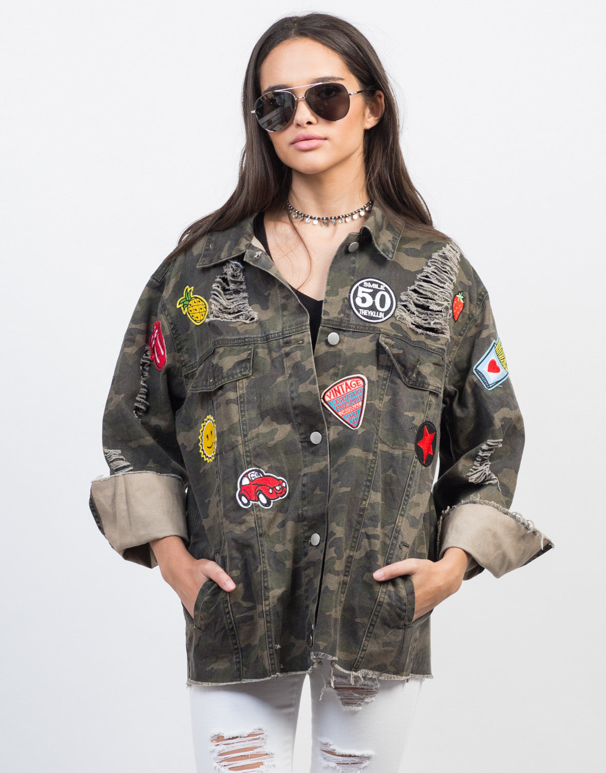 Front View of Distressed Camo Patched Jacket