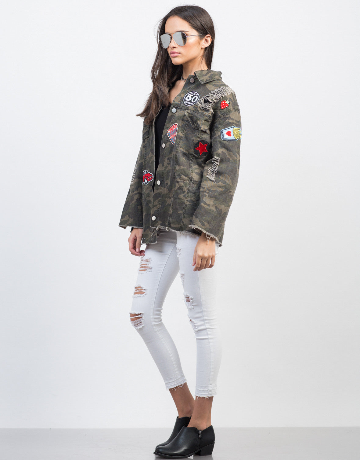 Side View of Distressed Camo Patched Jacket