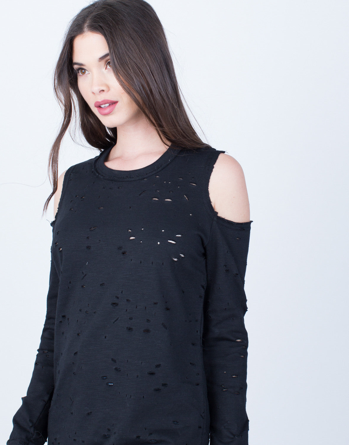 Distressed Cold Shoulder Tunic