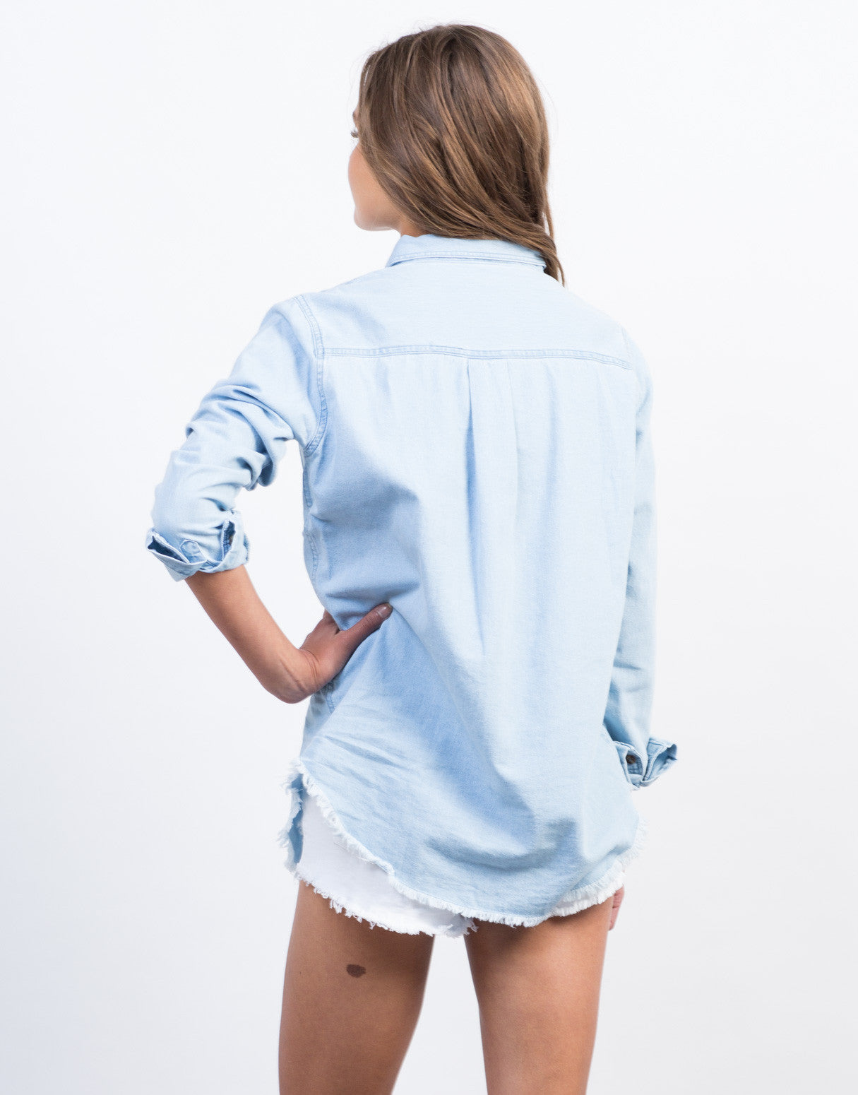 Back View of Distressed Denim Shirt
