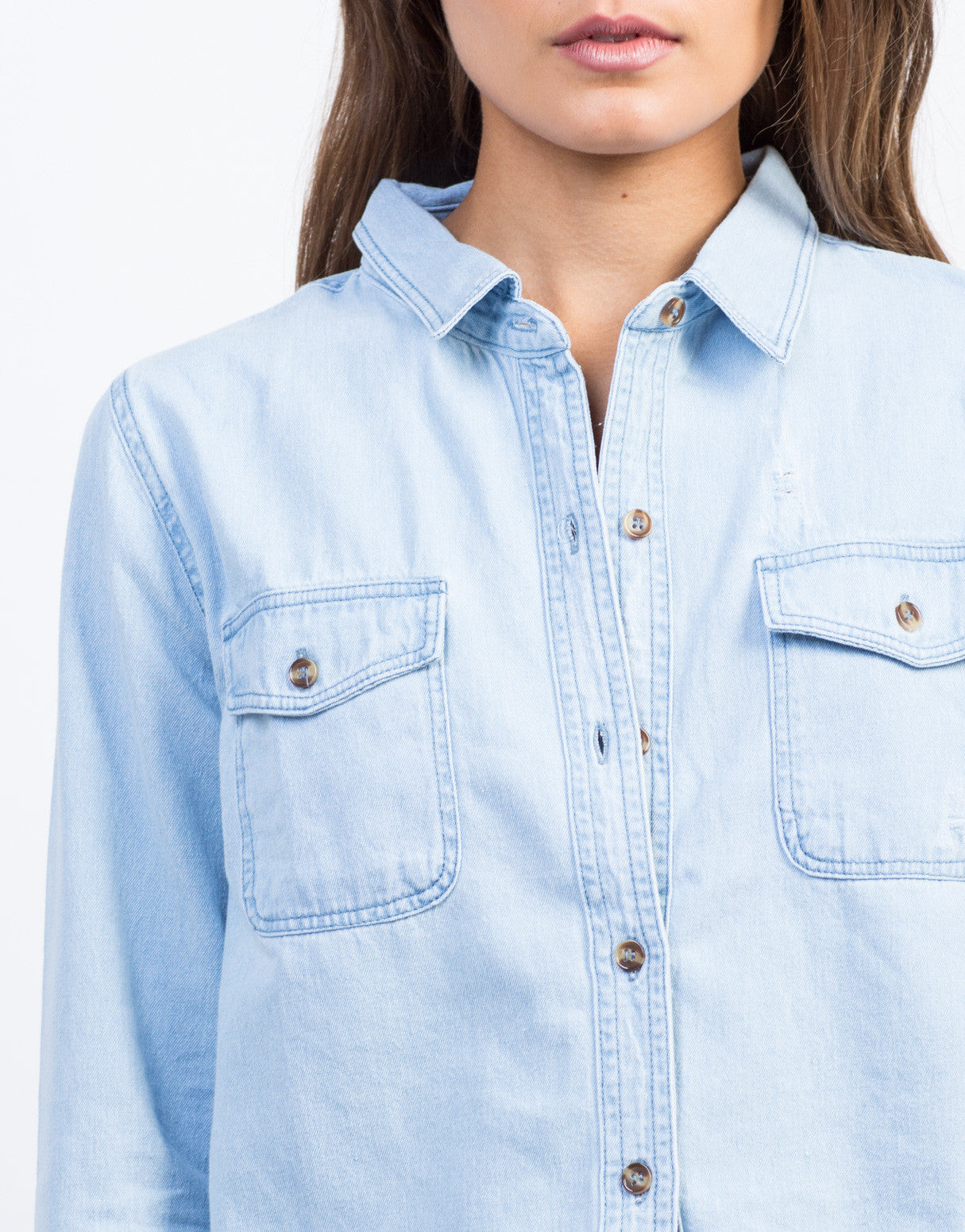 Detail of Distressed Denim Shirt