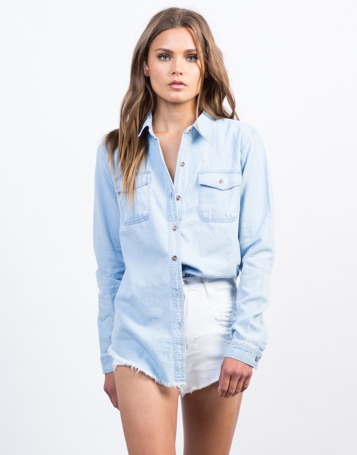 Front View of Distressed Denim Shirt