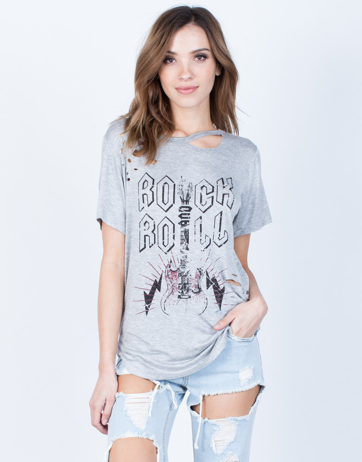Front View of Distressed Rock n Roll Tee