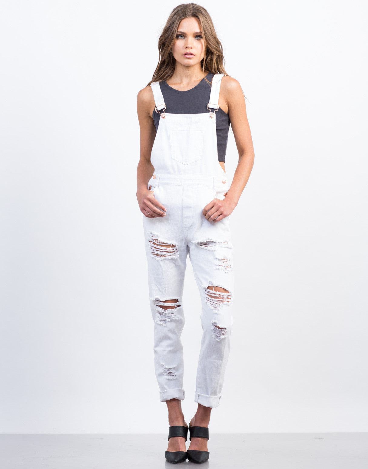 Front View of Distressed White Denim Overalls