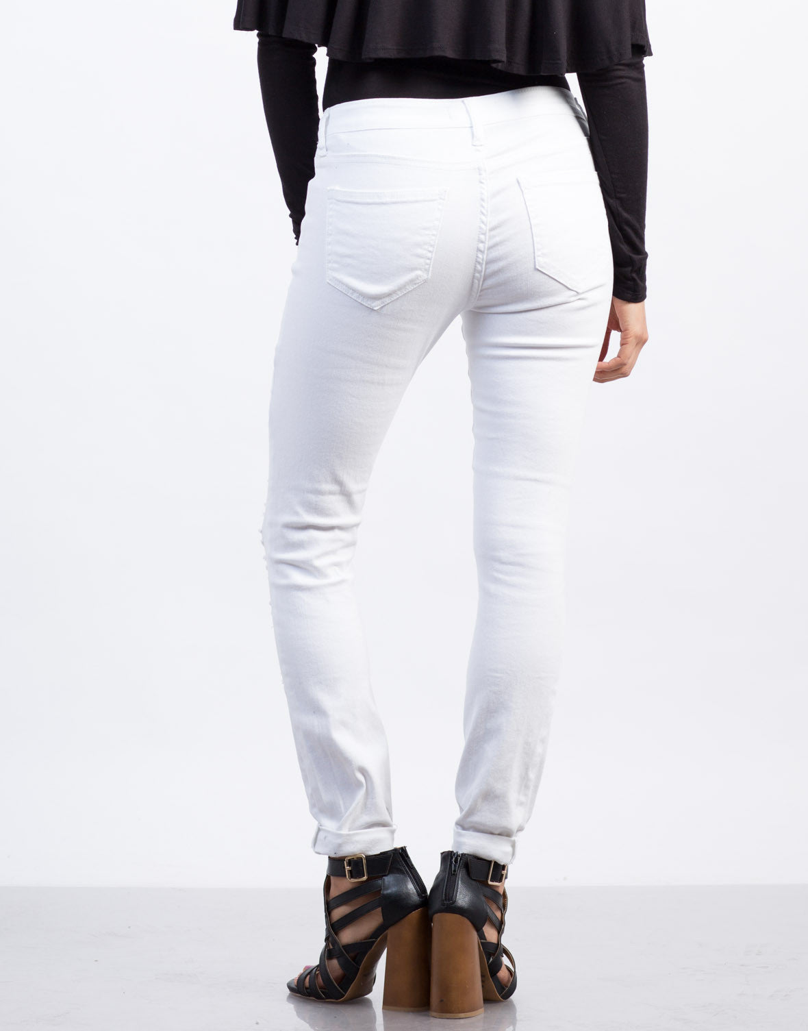 Back View of Distressed White Skinny Jeans