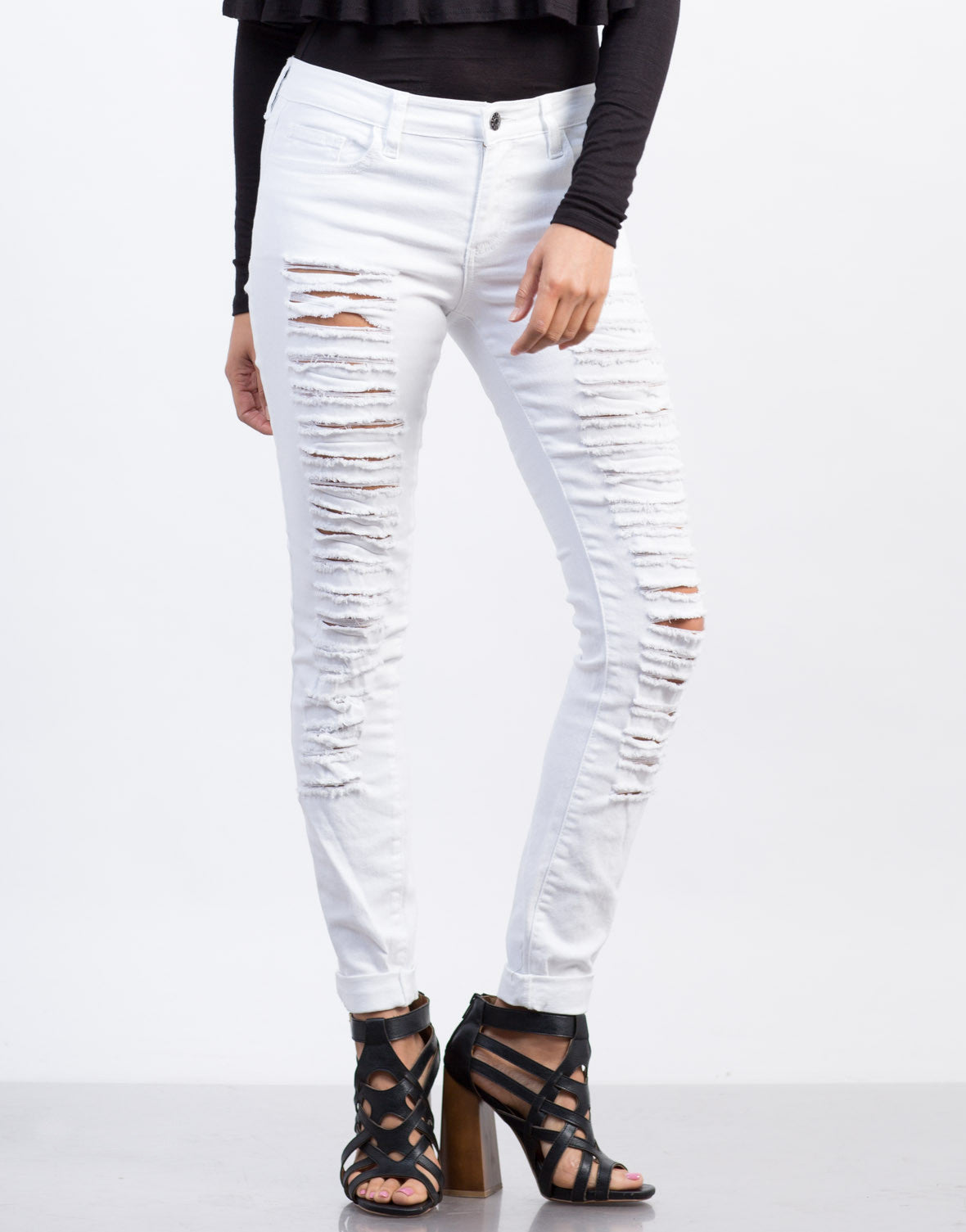 Front View of Distressed White Skinny Jeans