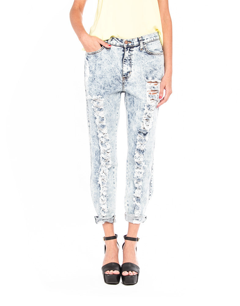 Distressed Boyfriend Jeans - Large - 2020AVE