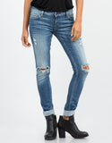 Front View of Distressed Classic Skinny Jeans