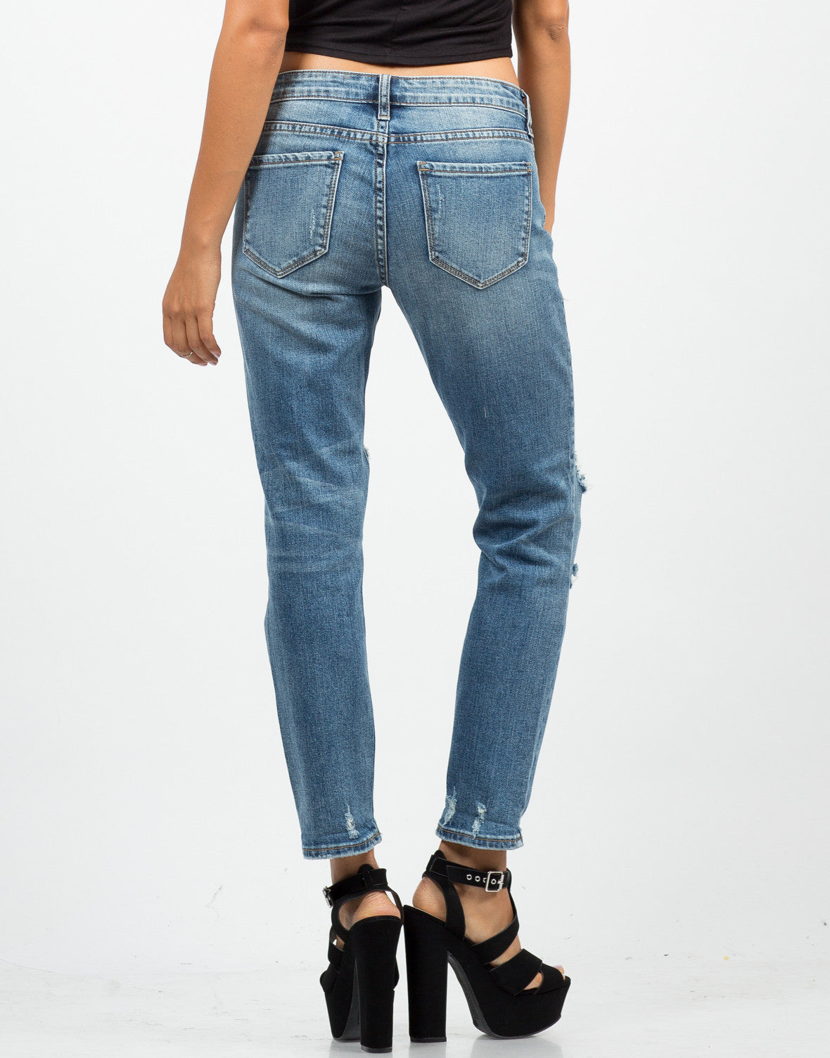 Back View of Distressed Cropped Skinny Jeans