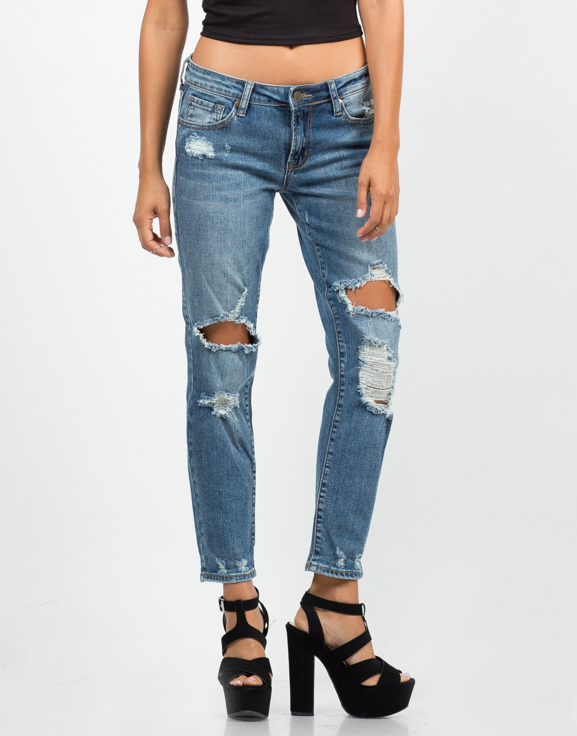 Front View of Distressed Cropped Skinny Jeans