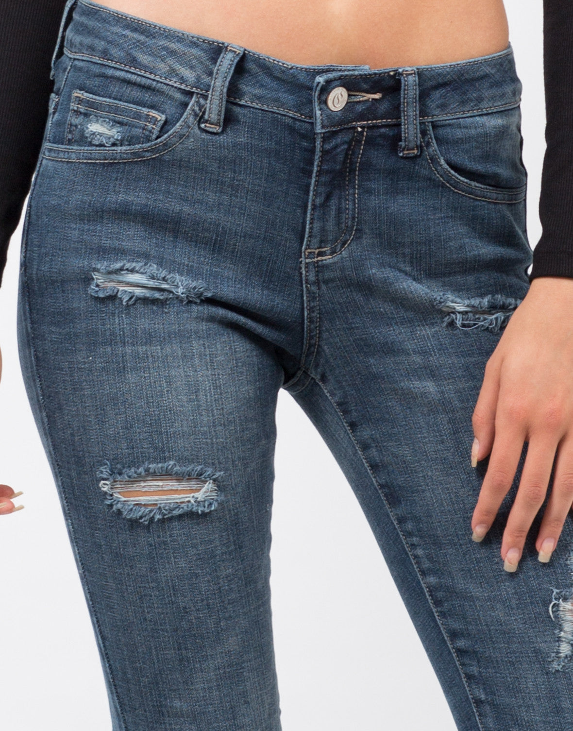 Detail of Distressed Crop Skinny Jeans