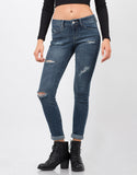 Front View of Distressed Crop Skinny Jeans