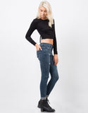 Side View of Distressed Crop Skinny Jeans