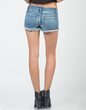 Back View of Distressed Cutoff Denim Shorts