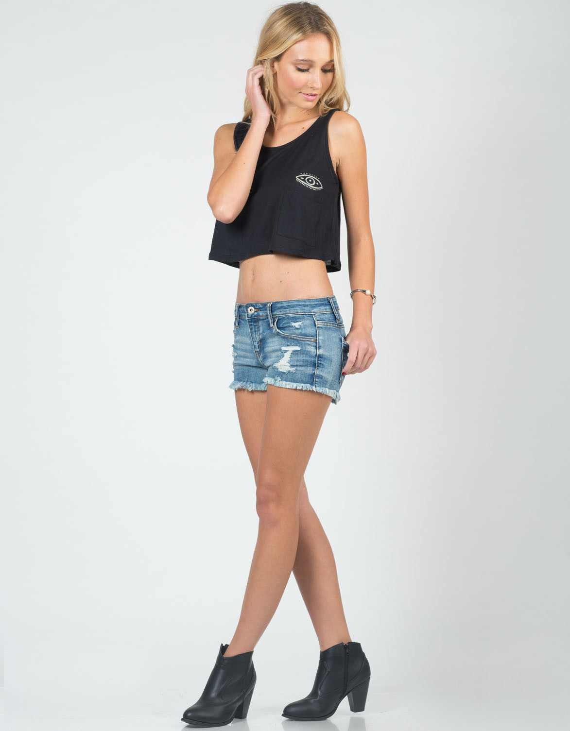 Front View of Distressed Cutoff Denim Shorts
