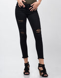 Front View of Distressed Fray Hem Skinny Jeans