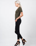 Side View of Distressed Fray Hem Skinny Jeans