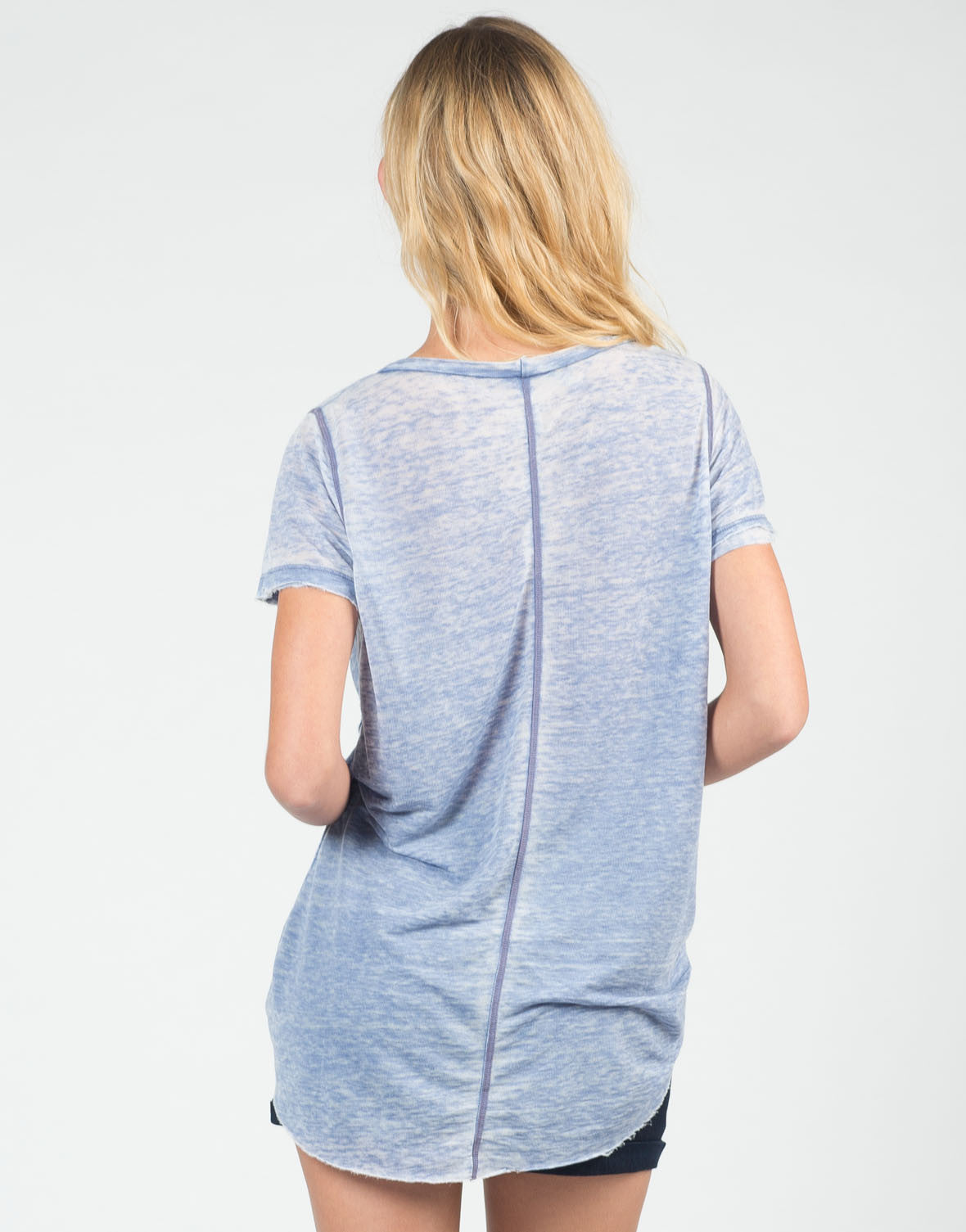 Back View of Distressed Heathered Tee
