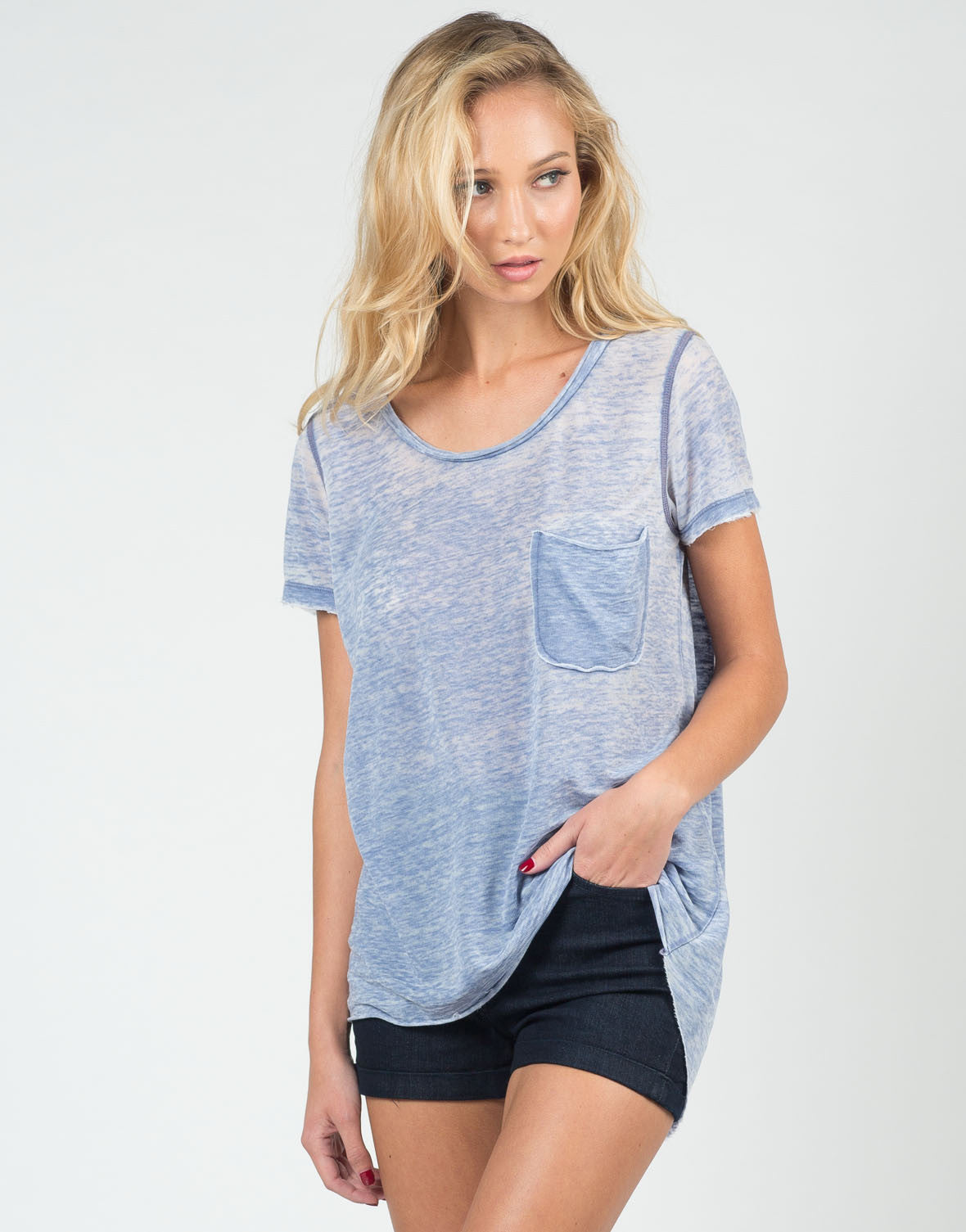 Front View of Distressed Heathered Tee
