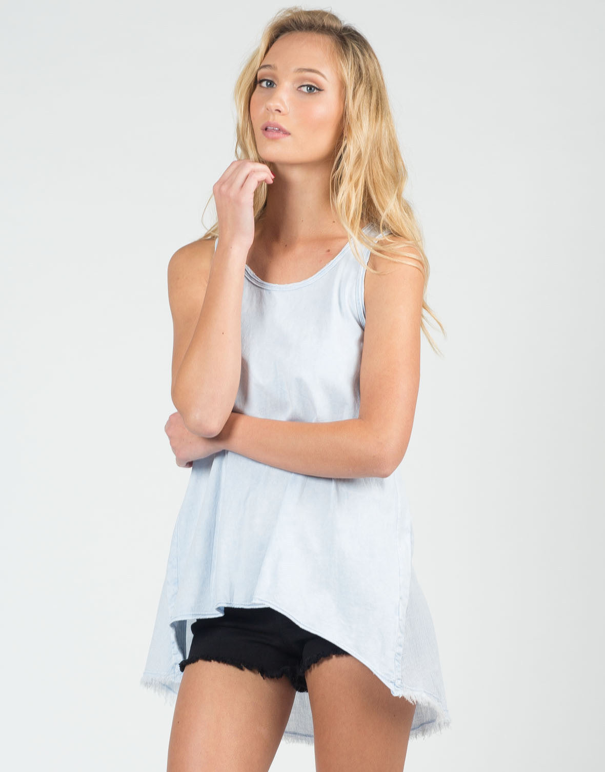 Front View of Distressed Lightweight Flowy Tank
