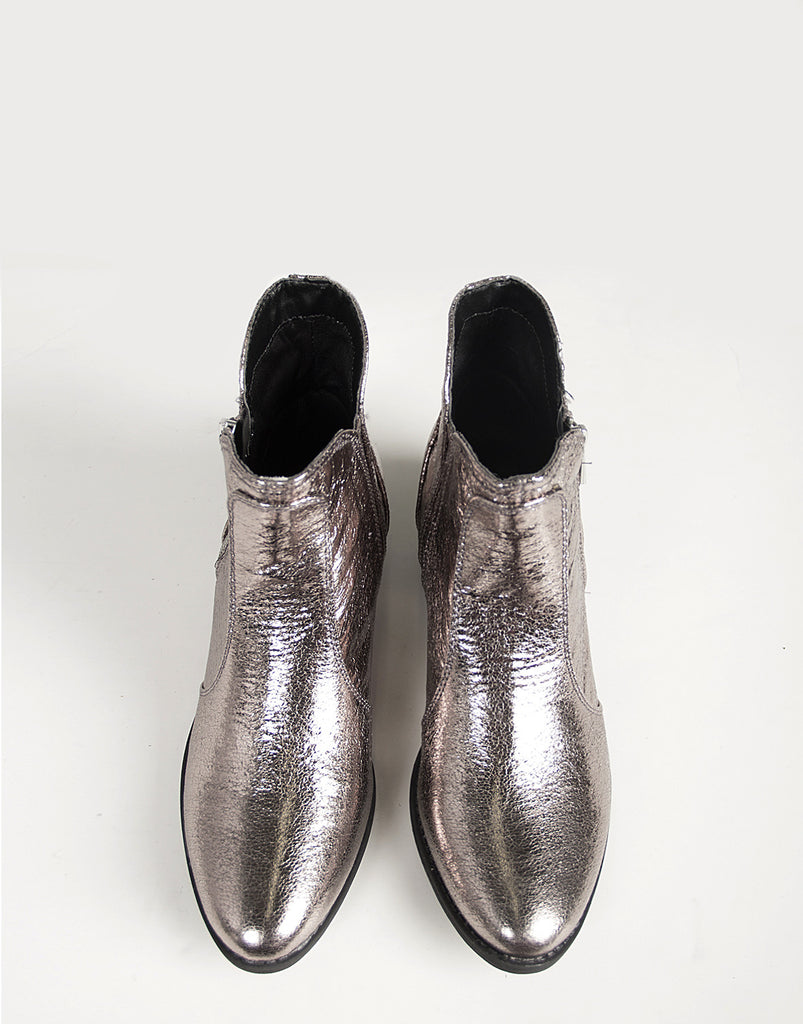 Distressed Metallic Ankle Boots - 2020AVE