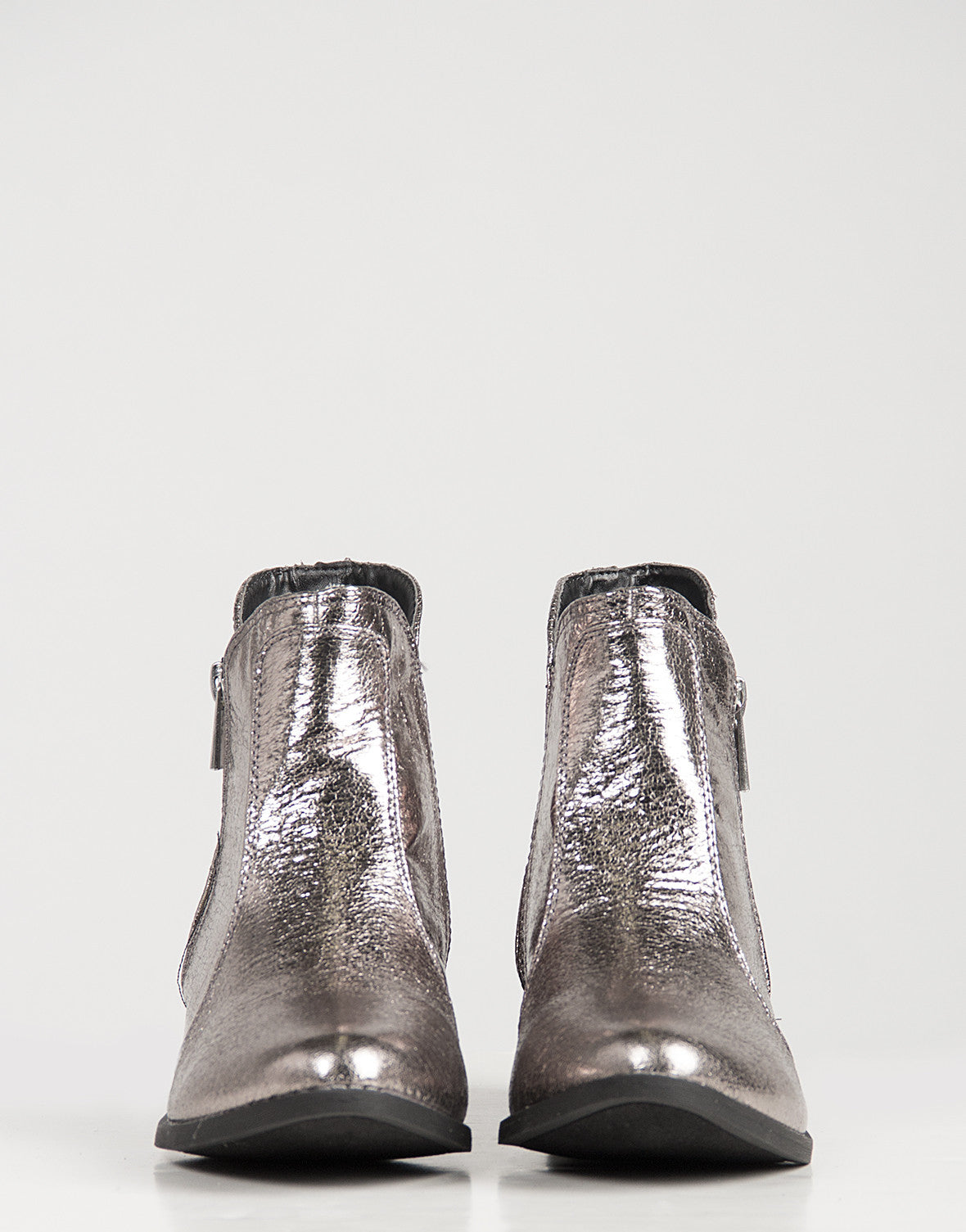 Distressed Metallic Ankle Boots