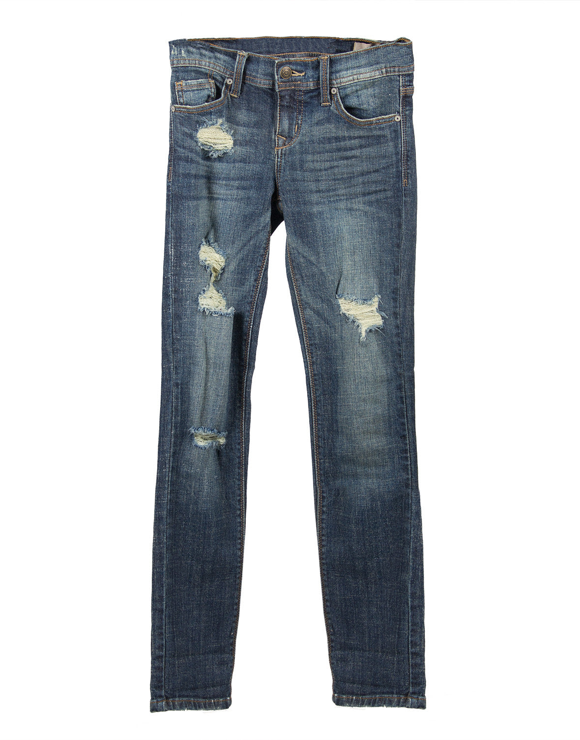 Distressed Rolled Up Skinny Jeans - 2020AVE