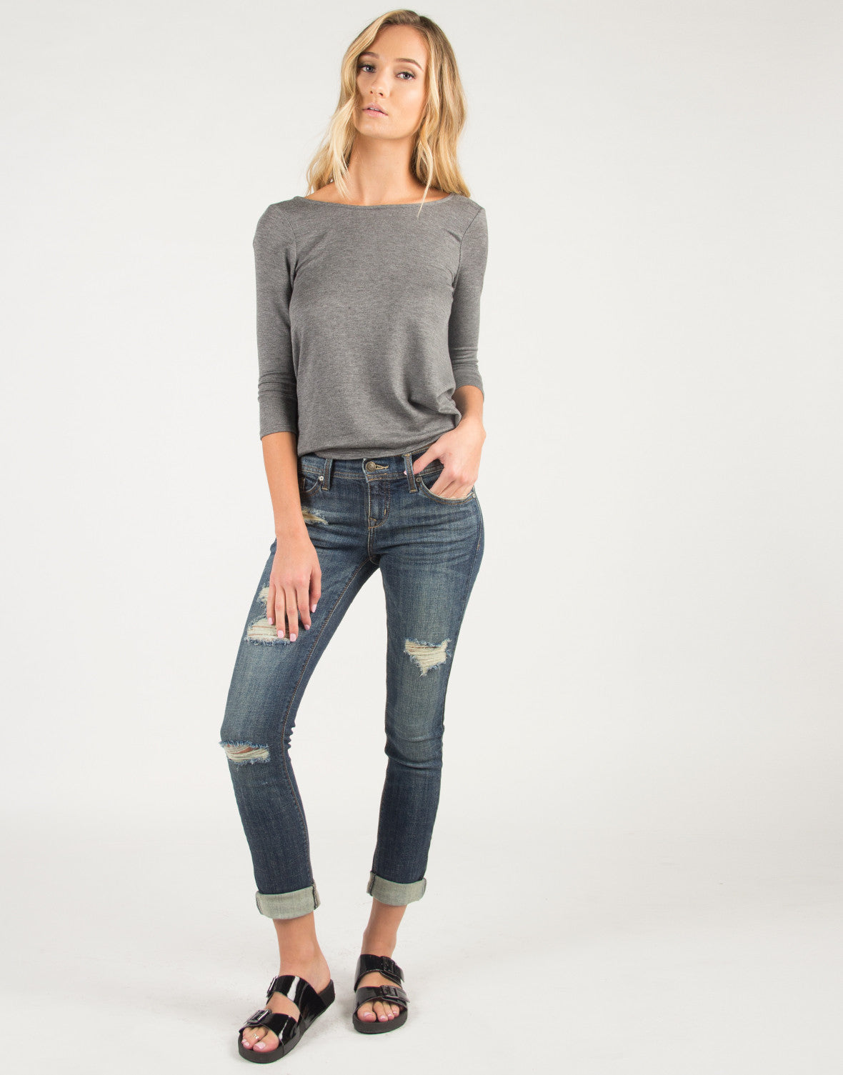 Distressed Rolled Up Skinny Jeans