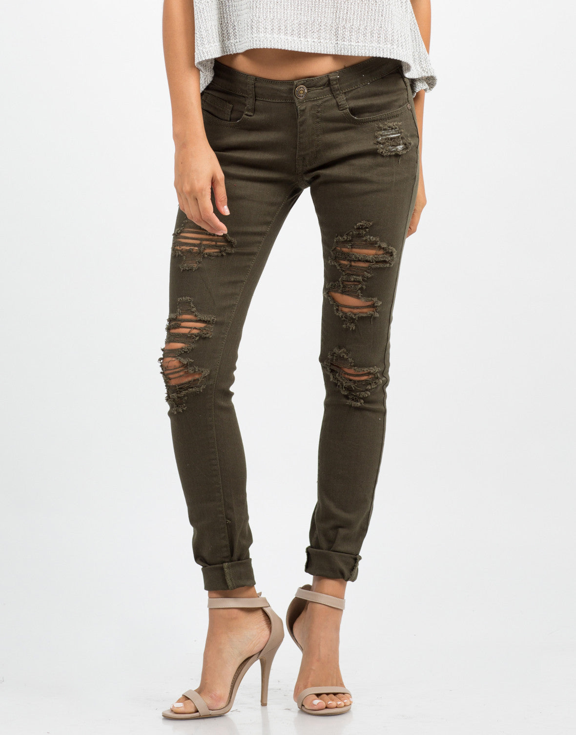 Front View of Distressed Skinny Jeans