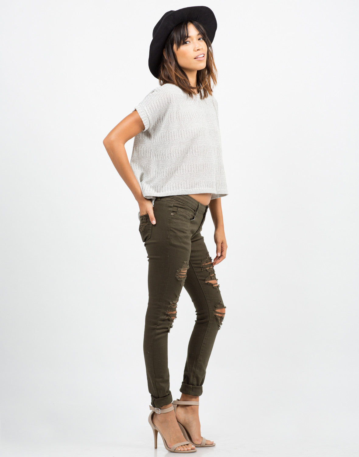 Side View of Distressed Skinny Jeans
