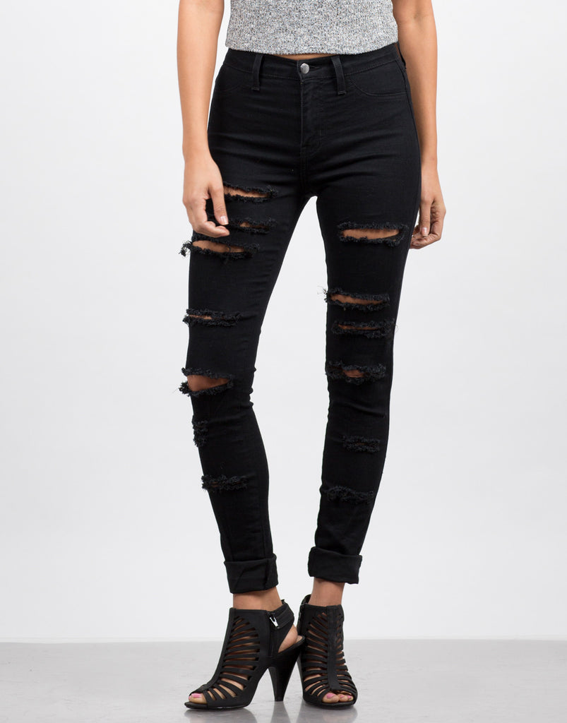 Distressed Stretchy Jeggings - 2020AVE