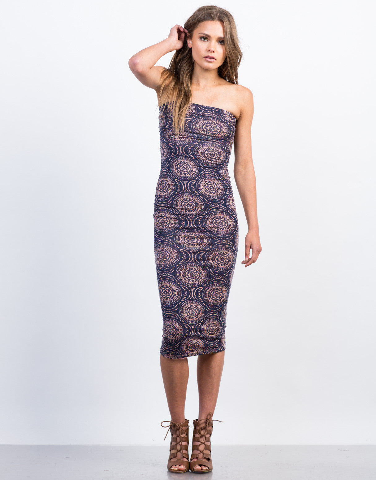 Front View of Dizzy Circle Boho Printed Dress