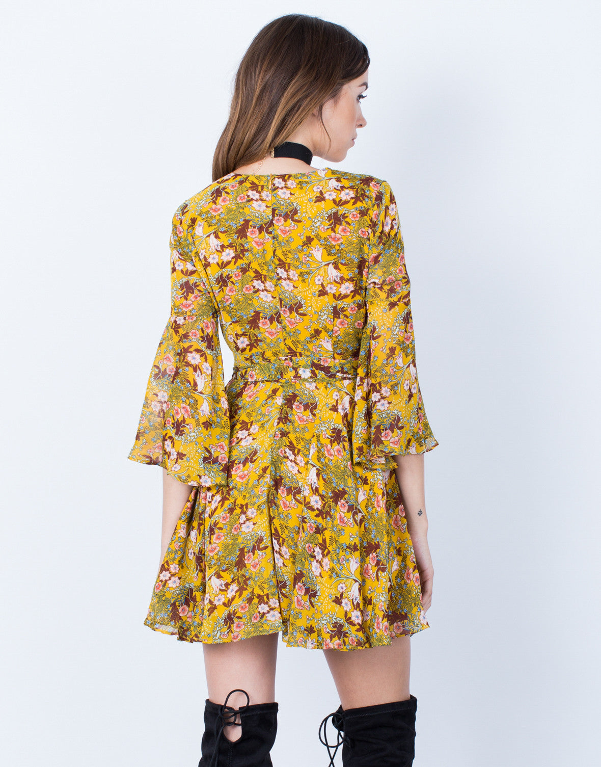Back View of Dolled Up Floral Dress